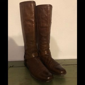 Frye Phillip Harness Tall Riding Brown Boots 9